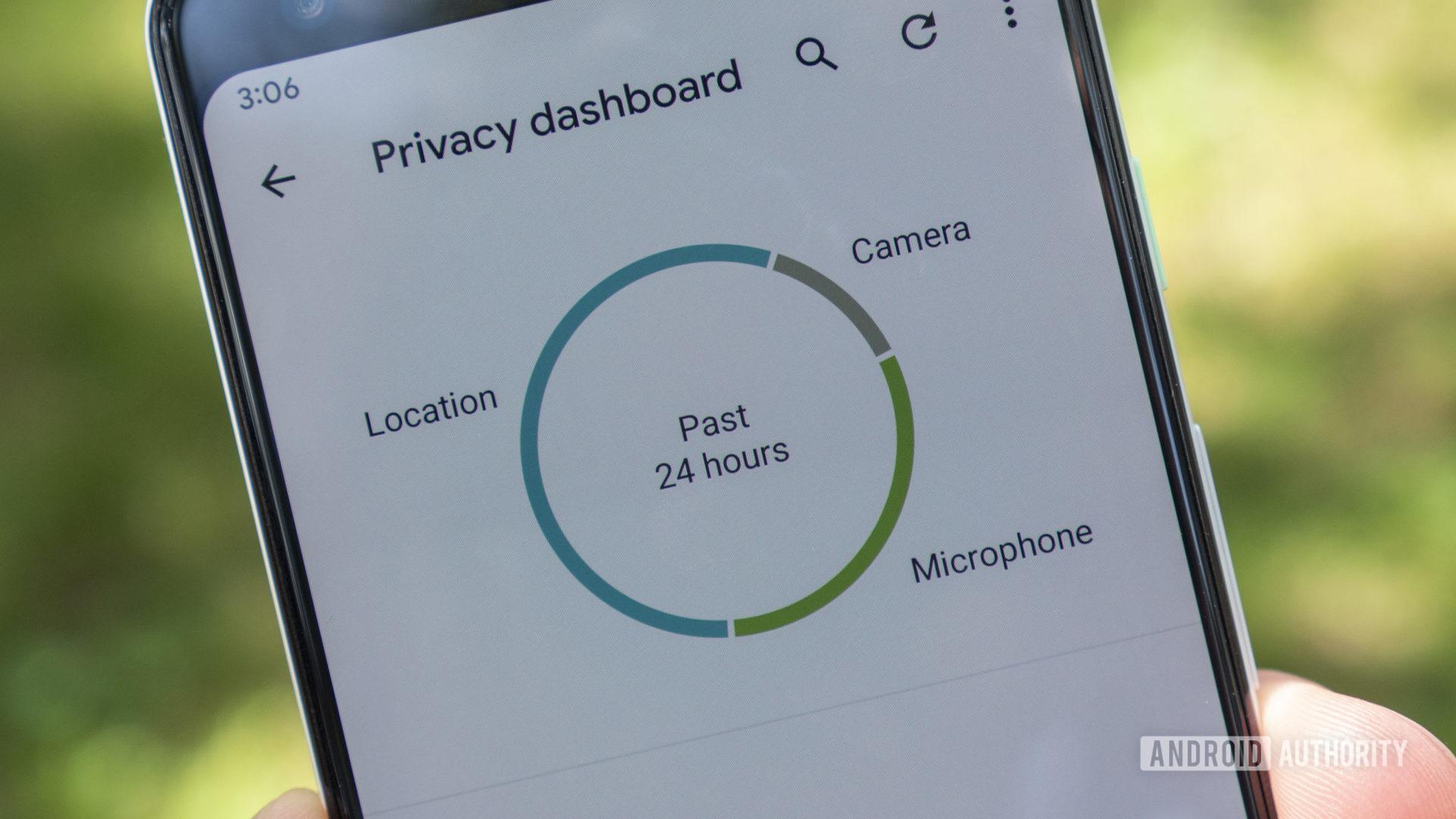 Graphique à secteurs 2 du panneau de confidentialité Android12beta2