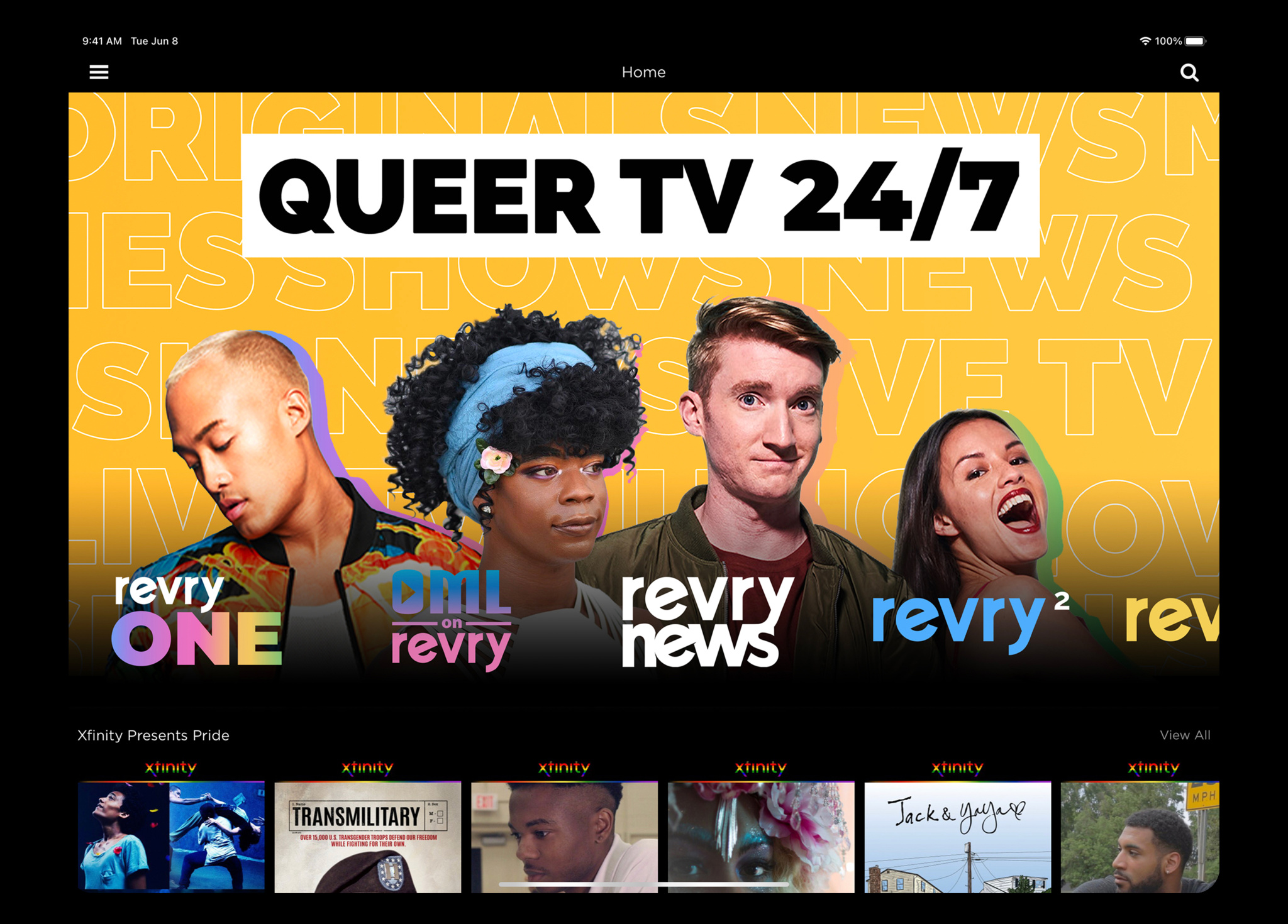 Diffusez de nouveaux films, des séries classiques et des émissions en direct exclusives de créateurs LGBTQ+.