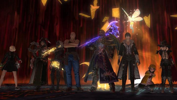 Asmongold posant avec son équipe d'attaque de Final Fantasy XIV.