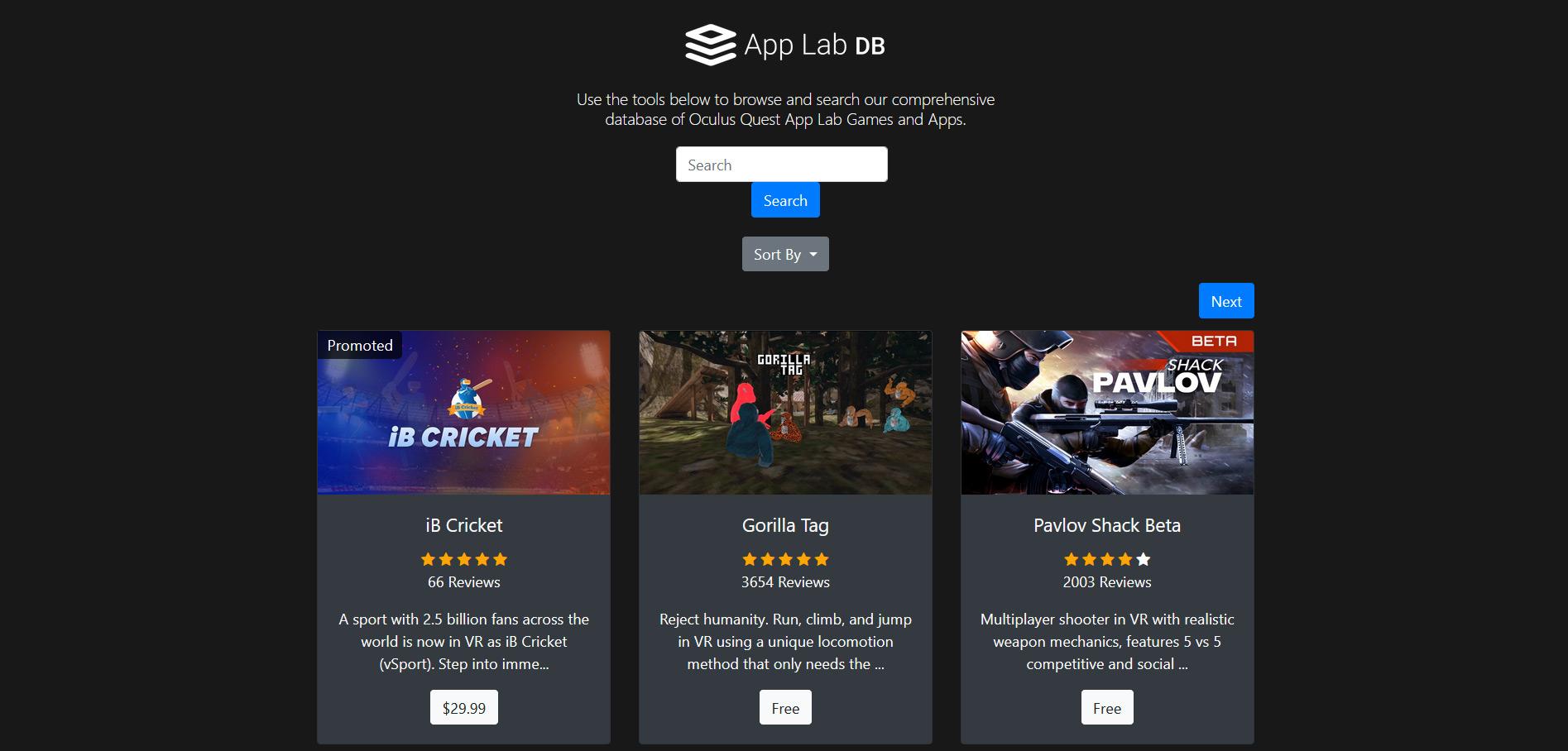 site Web de la base de données du laboratoire d'applications