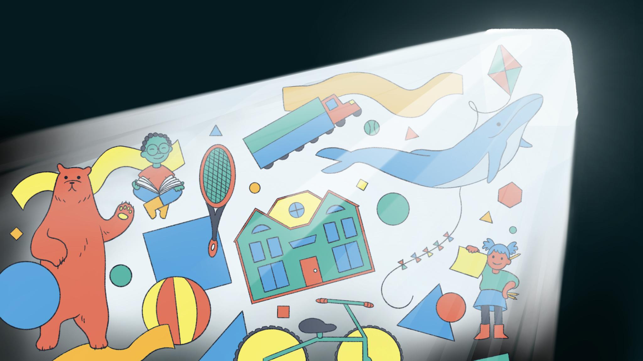 Le faisceau lumineux du coin supérieur droit révèle les jouets de la salle de jeux Pok Pok