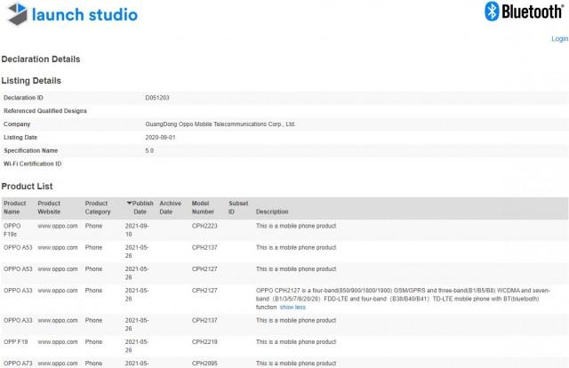 Oppo F19 avec certification Bluetooth